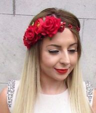 Red Rose Flower Garland Headband Hair Crown Headpiece Bridesmaid Bridal Vtg 2834