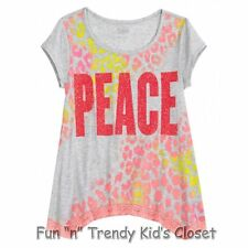 NWT Justice Girl Size 10 Lace Trimmed Sharkbite Animal Print Peace Tee Shirt Top
