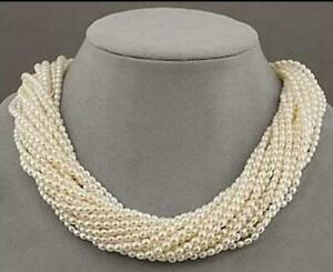 """Very beautiful AAA+ south sea white pearl 16 strands twisted necklace 18"""""""
