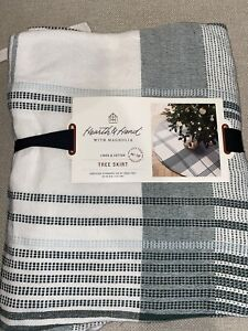 """NEW Hearth and Hand with Magnolia Plaid Tree Skirt Green White 52"""""""