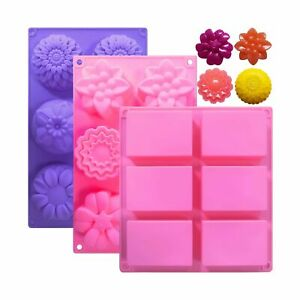 3Pcs Soap Molds 6 Cavities Silicone Soap Molds Rectangle and Different Flower Sh