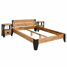 vidaXL Acaciahouten Bedframe met 2 Nachtkastjes Staal 180x200 cm Ledikant Bed
