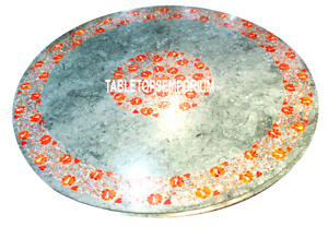 """24"""" Green Marble Coffee Table Top Marquetry Inlay Outdoor Furniture Living Decor"""