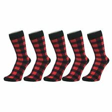 Black And Red Checked Ankle Socks (Size: 4-7), 6 PACK