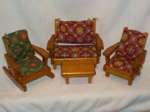 "Vintage Pert Pat. Products Wooden Doll Furniture for 8"" Ginny, Muffie Dolls"