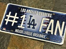"1 Los Angeles Dodgers ""#1 Fan"" Glitter Bling Metal License Plate"