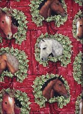 Christmas Horse Wreath Red Green curtain valance