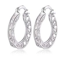 925 Sterling Silver Earrings Hoops Cubic Zirconia Women's Jewellery Auss Ladies