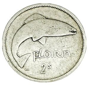 Irish 1928 One Floirin Silver.750 SCARCE Fine Coin
