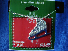 Holiday Silver Plated Metal Necklace Genuine Crystal Ice Skate Pendant 18 in