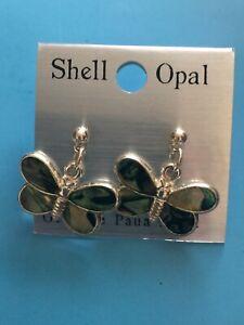 Genuine Paua Shell Opal Silver Stud Earrings Butterfly Brand New Unworn