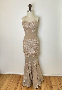 Alberto Makali Lace Nude Illusion Evening Gown Mesh Maxi Dress Prom Cocktail S