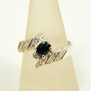 Oval Australian Sapphire Gemstone and CZ Ring Genuine 925 Sterling Silver - R183