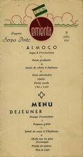 MENU DINNER DU PAQUEBOT SERPA PINTO  CCN, ÉMIGRATION DE GUERRE JUILLET 1941
