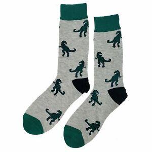 NWT T-Rex Dress Socks Novelty Men 8-12 Gray Fun Sockfly