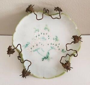 Hand Painted Porcelain Lily Pad Plate Insect Flies Trivet Floral Bisque Antique