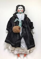 A Large Edwardian/Victorian Era Porcelain Dressed & Decorated Doll