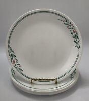 """Set of 7 Corelle Corning ROSEMARIE White Green Stripe Dinner 10.25"""" Plates AA"""