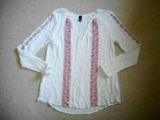 Womens Top-GAP-white/pink/orange/blue/green embroidered gauzy rayon tunic ls-S