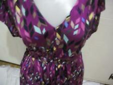 Women's Purple Print Blouse By Attention Tag Sz XXL Ties In Back   Nwots Clothin