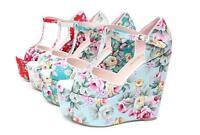 Ladies Summer Wedge High Heels Retro Floral Bohemia Platform Shoes Sandals Sweet