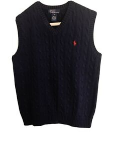 """POLO by Ralph Lauren Navy Cable Knit 100% Cotten Size Medium Boy""""s"""