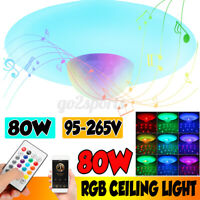 80W Smart LED Ceiling Light Lamp RGB bluetooth Music Speaker Dimmable Bedroom