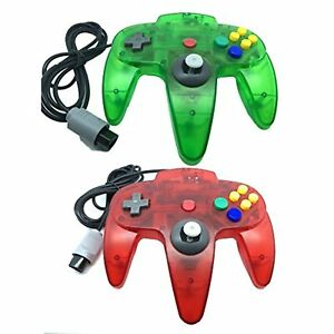 Lot Of 2 Classic Retro Wired Controllers For N64 Clear Red And Clear