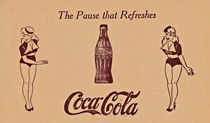 """COCA - COLA """"the pause that refreshes """"-PIN-UP  1930s  ADVERTISING postcrad/RARE"""