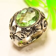 Green Amethyst Stone Vintage Look .925 Silver Jewelry Ring Size 9