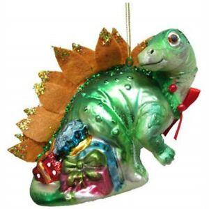 December Diamonds 79-81099 Blown Glass Green Dinosaur Ornament 5 Inches