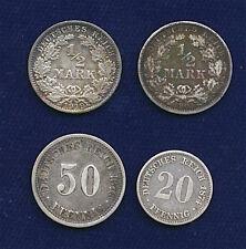 GERMANY EMPIRE 1905-A, 1919-A  1/2 MARK SILVER COINS, 1874-A 20 PFENNIG, 1876-J