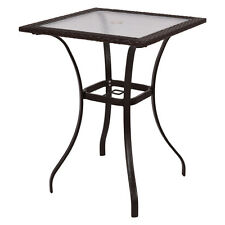 Outdoor Patio Rattan Wicker Bar Square Table Glass Top Yard Garden Furniture