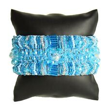 BR180208 Magnetic Clasp Bugle Bead Czech Frozen Blue Crystal Bracelet Cuff Jewel