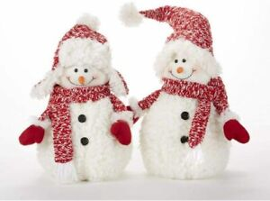 "Delton 11 Inches Christmas Fluff Snowman Stump, Set of 2, 16"""