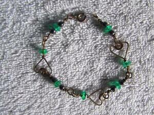 """Handmade Copper Wire Wrapped Bracelet W / Magnetic & Green Beads 7"""" Long"""
