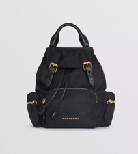 Burberry Small Rucksack Technical Nylon Leather Backpack Crossobdy Bag Black NWT