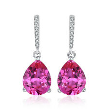 JewelryPalace Classic 7ct Pear Created Pink Sapphire Drop Earrings 925 Silver