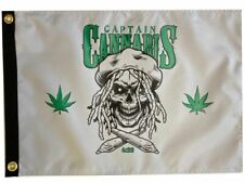 """Captain Cannabis 4:20 Boat Flag 12X18"""" New Pirate Jolly Roger"""