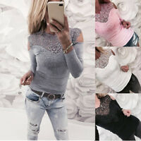 Fashion Sexy Womens Long Sleeve O Neck Lace Patchwork Sweatshirt Blouse Pullover