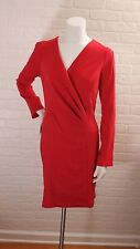 FOREVER 21 + Red Dress Size XL V Neck Wrap Draped Pin Knee Length Work Casual