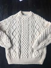 Irish cable knit sweater men womens 100 % wool cream color Blarney Mills