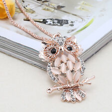 Women Vintage Crystal Rhinestone Owl Pendant Long Sweater Chain Necklace Jewelry