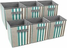 6 Foldable Fabric Storage Cube Bin Cloth Baskets for Shelves- Vertical Stripes