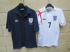 Lot Maillot + Polo vintage ANGLETERRE ENGLAND shirt UMBRO n°7 BECKHAM football S