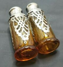 Vintage Salt and Pepper Spice Shakers Mid Century Metal over Glass Friar Church