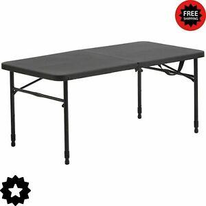 "NEW|Mainstays 40""Plastic Adjustable Height Fold-in-Half Folding Table Rich Black"