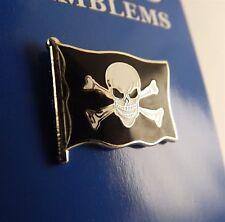 "BRAND NEW Lapel Pin Skull And Cross Bones Pirate Flag Black Enamel 1"""