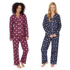 Ladies Women 100% Cotton Brushed Flannel Fox Owl Thermal Pyjamas Sets Nightwear