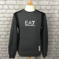 EA7 EMPORIO ARMANI MENS INT S GREY COLOUR BLOCK CREW NECK SWEATSHIRT DESIGNER